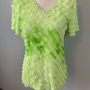 Kim Rogers green layered ruffle shirt/ size S